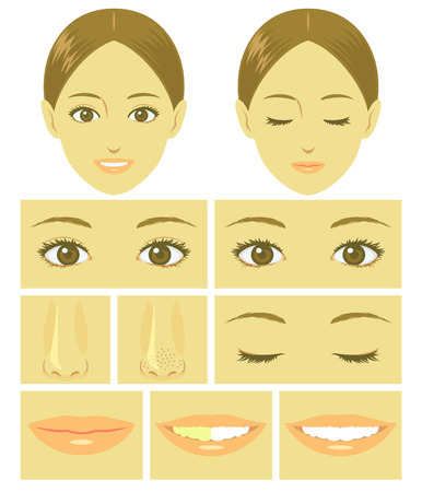 smile faces: Woman face parts
