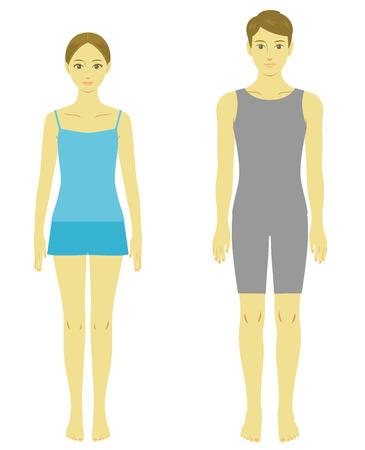 여자와 남자의 몸 모델