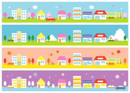 stores and houses four seasons Vector