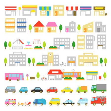 Town icon stores houses vehicles Illustration