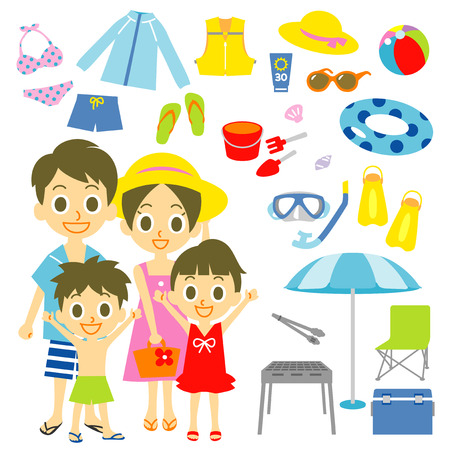 father with child: Family seaside pool resort items