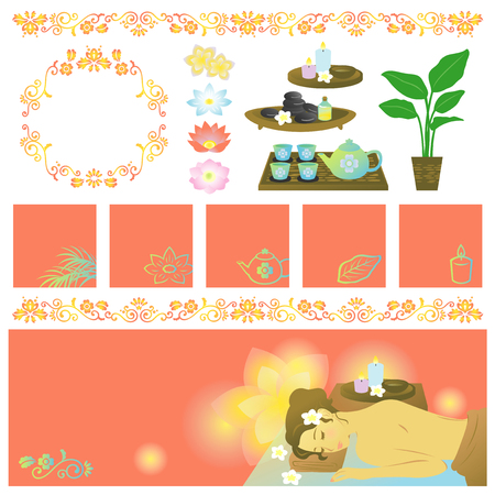 hot stone massage: Asian spa items banners Illustration