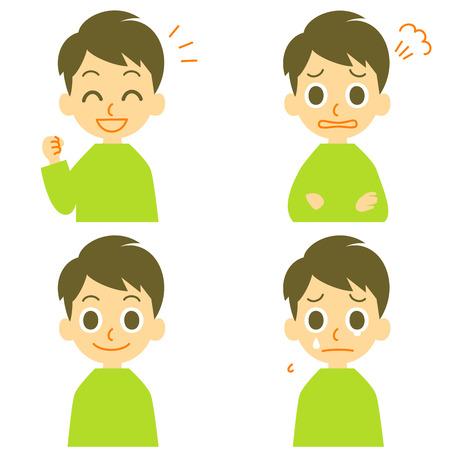 男うれしそうな怒り泣く  イラスト・ベクター素材