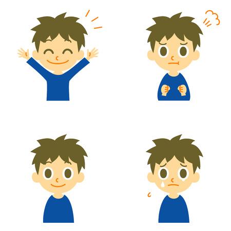 Boy joyful angry weep  イラスト・ベクター素材