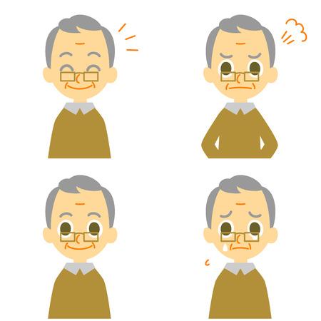 Old man joyful angry weep