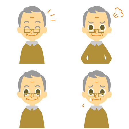 persona feliz: El viejo hombre alegre llorar enojado Vectores