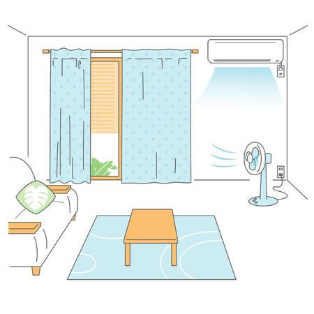 summer heat: Preparing room for summer heat Illustration