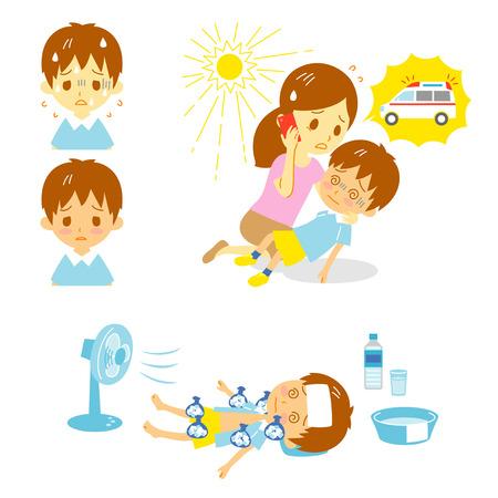 sudoracion: El golpe de calor ambulancia de primeros auxilios Vectores