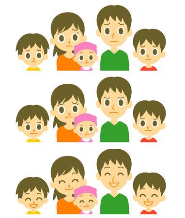 cara triste: Los padres y los tres expresiones niños Vectores
