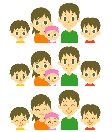 sad: Parents and three kids expressions
