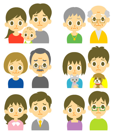 woman middle age: Couples perplexed expression Illustration