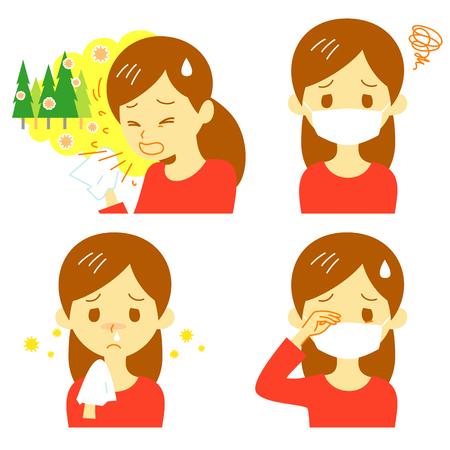 blowing nose: Hay fever cedar pollen allergy