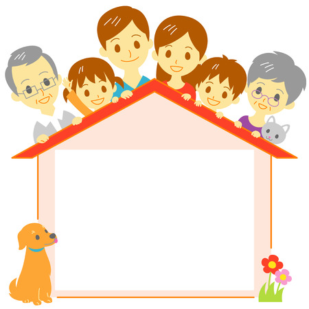 happy family: Family house copy space Illustration
