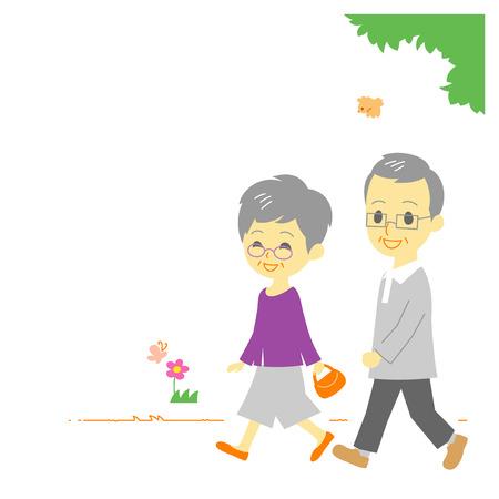 공원에서 산책 노인 부부