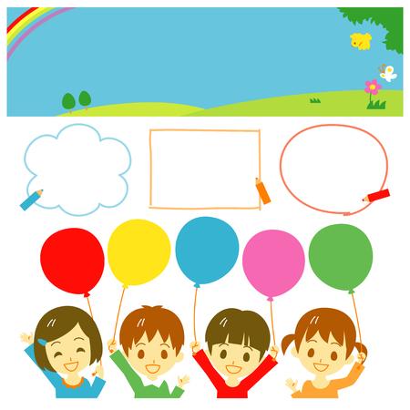 Kids holding balloons, banner set