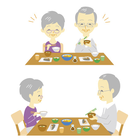 eat healthy: Senior couple Japanese meal