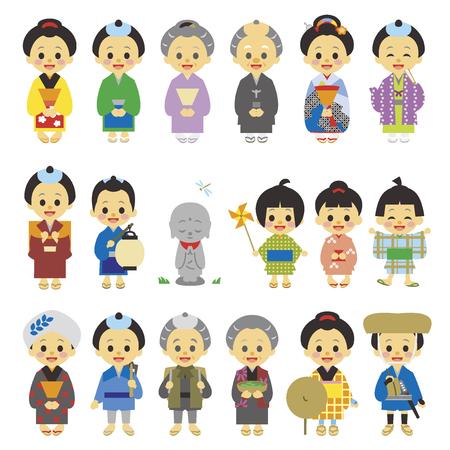 period costume: People of Edo period Japan 01 Illustration