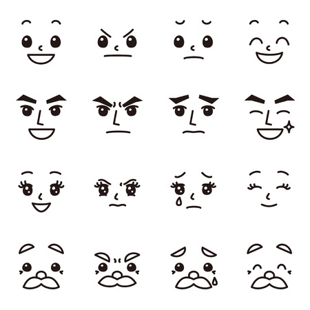 Facial expression emotions set Vector illustration.