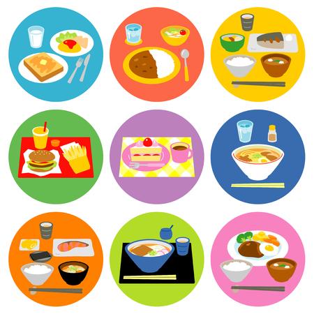 suppertime: Set of food meals Typical meals Illustration