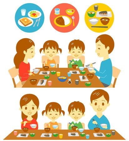 Familie Japanse maaltijden Stock Illustratie