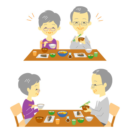 pareja comiendo: Senior couple Japanese meal on a white background. Vectores
