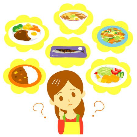 Mujer planificación de comidas Foto de archivo - 86425561