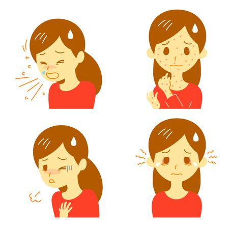 allergische Reaktionen Vektorillustration.