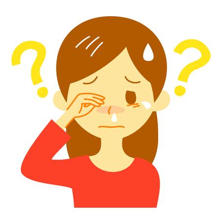 allergiesymptoom, onbekende oorzaak, denkende vrouw