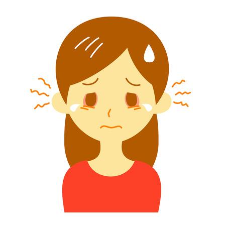 itchy eyes, woman,  illustration Stock Photo