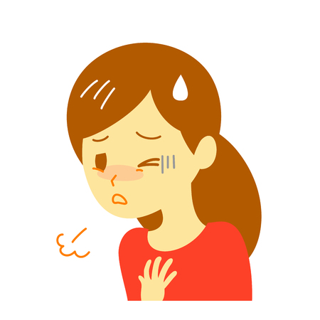shortness of breath, woman,  illustration