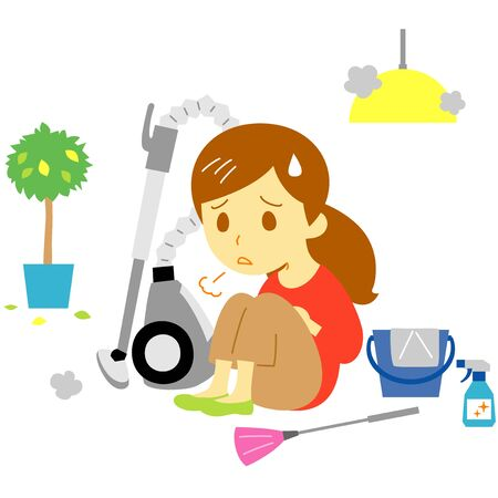 vacuum cleaner, tired young woman, illustration