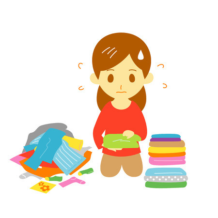 fold the laundry, young woman, illustration Stock Photo