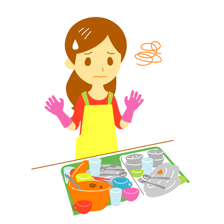 dirty dishes, frustrated young woman, illustration