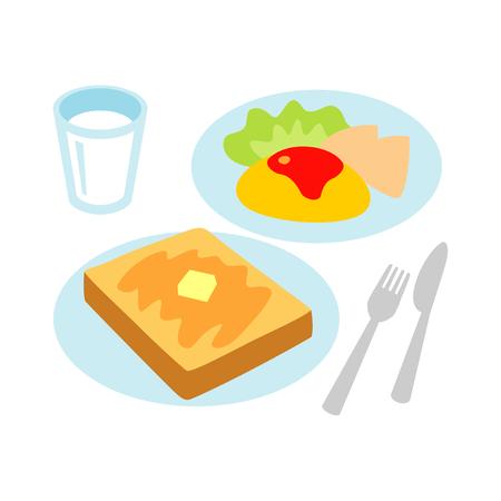 朝食、トーストとオムレツ、ミルク 写真素材