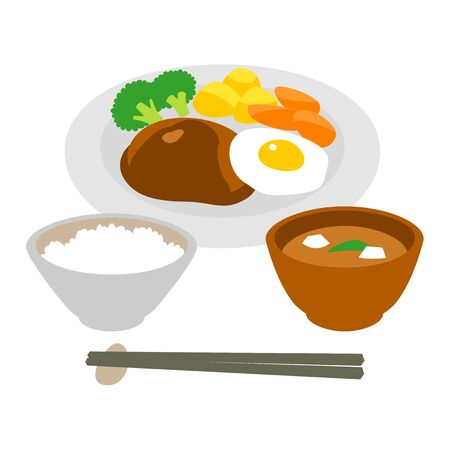 hamburg steak and fried egg, rice, soup