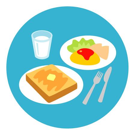 朝食トーストとオムレツ、牛乳