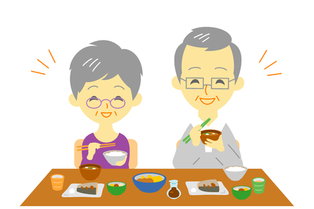 pareja comiendo: senior couple at dinner, Japanese meal