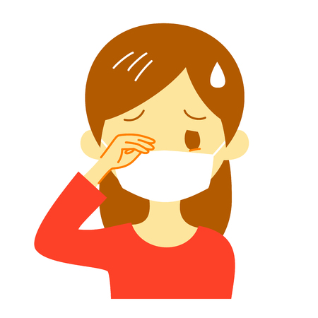 itchy eyes, woman wearing a surgical mask