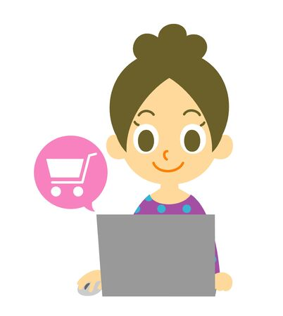 girl laptop: online shopping woman Stock Photo