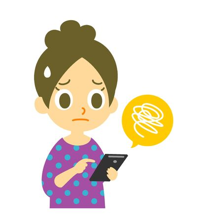 cellphone icon: mobile phone, troubled, woman Stock Photo