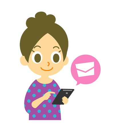 mobile phone, mail sending, woman