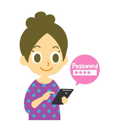 cellphone icon: mobile phone, strong password, woman Stock Photo
