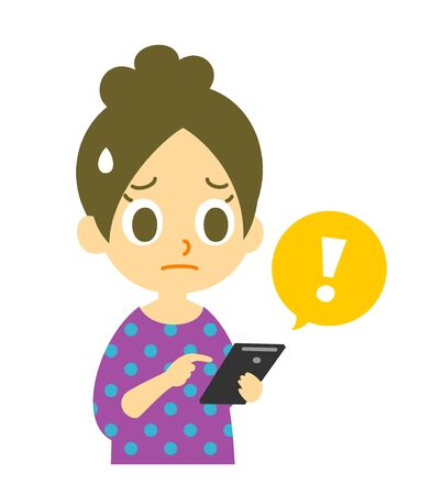 cellphone icon: mobile phone, exclamation mark, woman