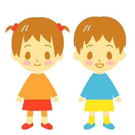 幼児の男の子と女の子 写真素材