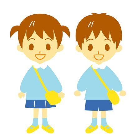 kindergarten child, boy and girl Stock Photo