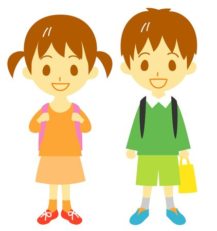 school kids, boy and girl 版權商用圖片
