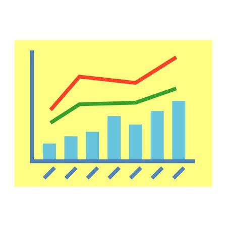 棒グラフ、線グラフ、イラスト