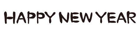 新年おめでとう、書道、墨、イラストレーション 写真素材