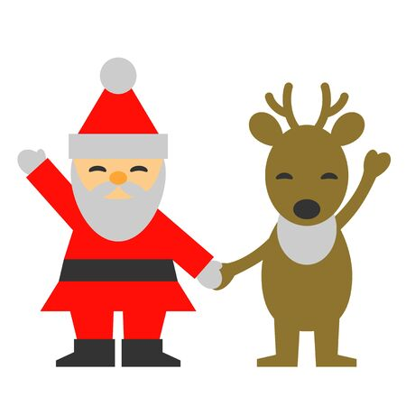 Santa Claus reindeer, Christmas, smile and hold hands, illustration