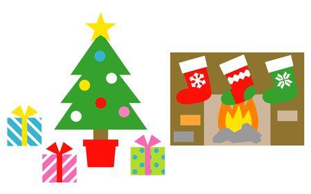 Christmas tree, gift boxes, christmas stockings,  stove, illustration
